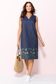 Plus Size - Sara Embroidered Shift Dress
