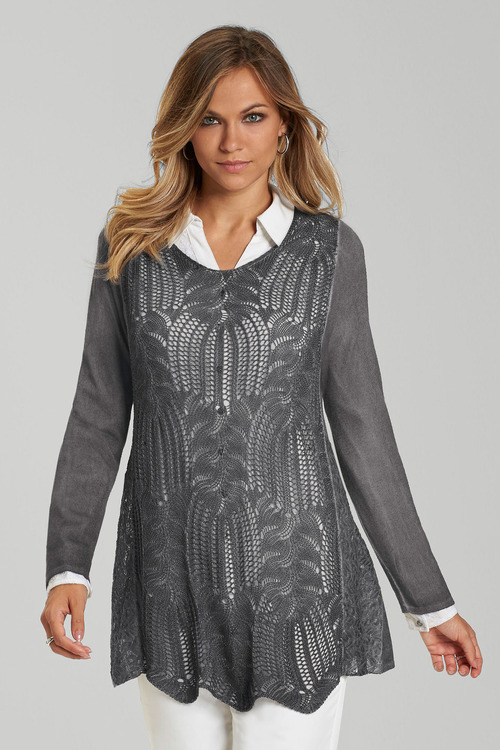 Euro Edit Pointelle Lace Pullover