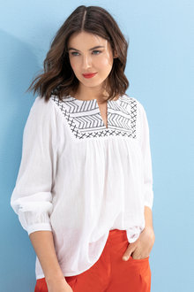 Capture Embroidered Neck Boho Top - 234020