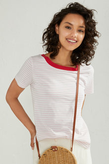 Emerge Contrast Neck Stripe Tee - 234030