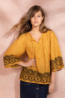 Emerge Boho Embroidered Hem Top