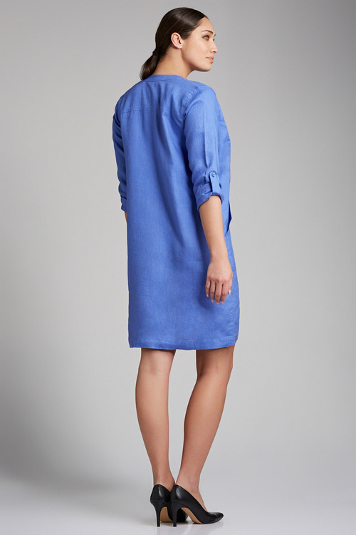 Capture Linen 1/2 Placket Pocket Dress