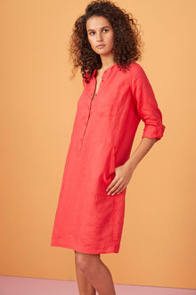 Capture Linen 1/2 Placket Pocket Dress - 234034