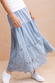 Capture Broderie Hem Tiered Skirt
