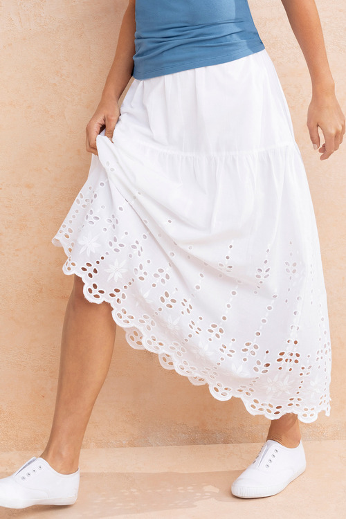 Capture Broderie Hem Tiered Skirt