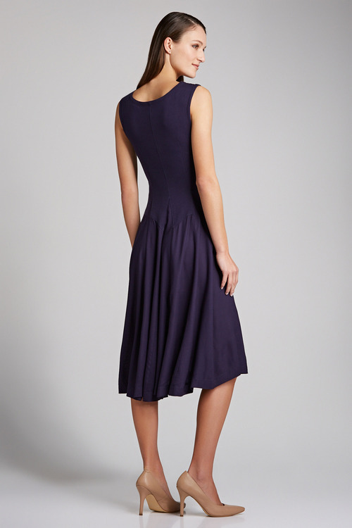 Grace Hill Square Neck Godet Dress