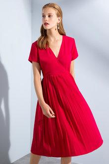 Grace Hill Pleat Skirt Short Sleeve Dress