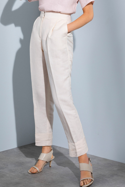 Grace Hill Pleat Front Linen Blend Pants