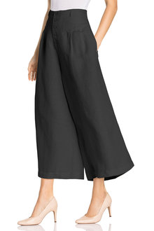 Grace Hill Linen Blend Button Culottes