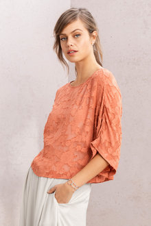 Grace Hill Burnout Kimono Sleeve Top