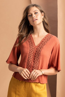 Emerge Kimono Sleeve Embroidered Top - 234072