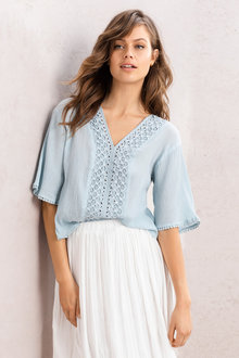 Emerge Kimono Sleeve Embroidered Top