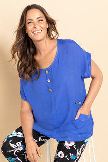 Plus Size - Sara Tri Button Top