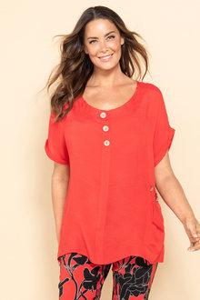 Plus Size - Sara Tri Button Top