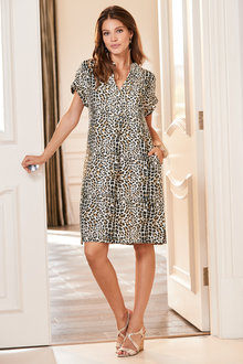 European Collection Animal Print Tunic Dress