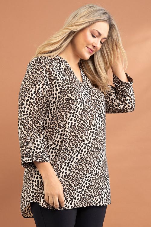 Plus Size - Sara Mandarin Collar Shirt