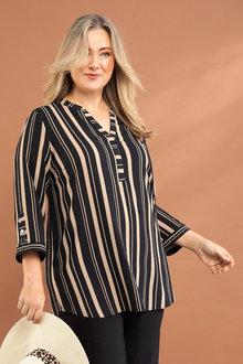 Plus Size - Sara Mandarin Collar Shirt - 234161