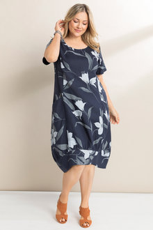 Plus Size - Sara Linen Floral Dress