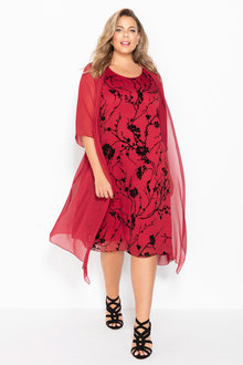 Plus Size - Sara Flocked Dress & Jacket Set
