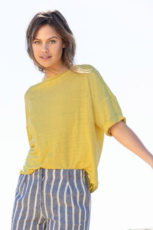 Emerge Linen Drop Shoulder Boxy Tee