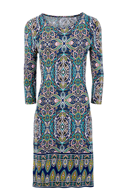 Kaleidoscope Border Print Dress
