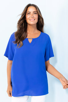 Plus Size - Sara Bead Detail Shell Top