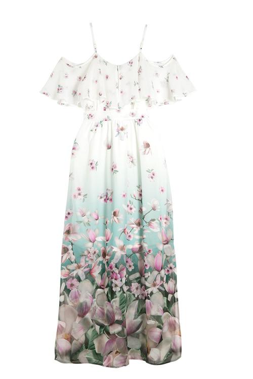 Kaleidoscope Cold Shoulder Chiffon Dress
