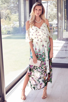 Kaleidoscope Cold Shoulder Chiffon Dress