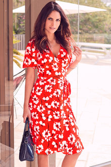 Kaleidoscope Floral Ruffle Wrap Dress