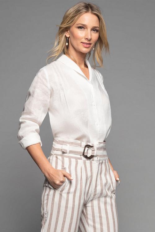 Grace Hill Linen Pintuck Shirt