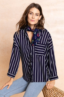 Capture Stripe Roll Sleeve Shirt - 234251