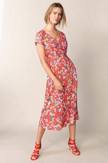 Capture Midi Mock Wrap Dress