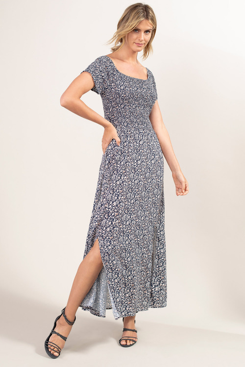 Capture Shirred Maxi Dress