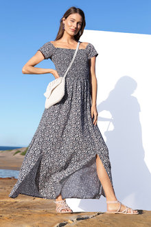 Capture Shirred Maxi Dress
