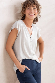 Capture Linen Button Front Tee