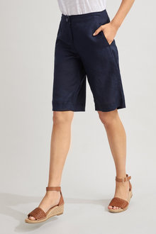 Capture Linen Tab Cuff Shorts - 234268