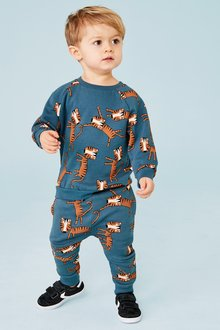 Next Tiger All Over Print Crew And Jogger Set (3mths-7yrs)