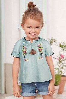 Next Embroidered Short Sleeve Blouse (3mths-7yrs)