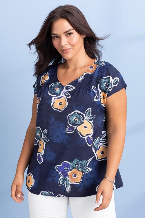 Plus Size - Sara Poppy Print Top