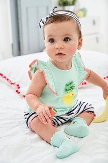 Next T-Shirt, Bloomer And Headband Set (0mths-2yrs)