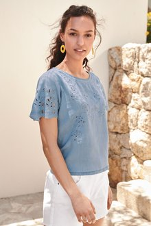 Next Embroidered Cut-Out Woven T-Shirt- Petite