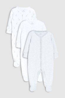 Next Geo Giraffe Print Sleepsuits Three Pack (0mths-2yrs)