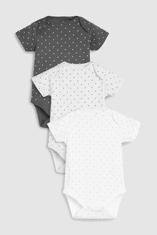 Next Mini Stars Short Sleeve Bodysuits Three Pack (0mths-2yrs)