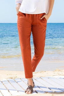 Emerge Linen Tapered Zip Hem Pant