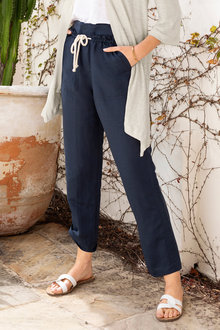 Emerge Linen Blend Pocket Detail Pants - 234435