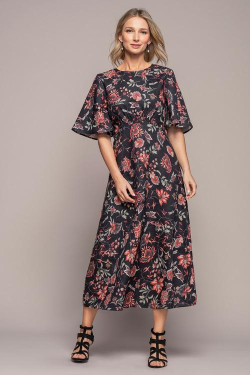 Grace Hill Linen Shirred Waist Dress