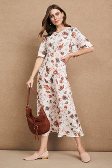 Grace Hill Linen Shirred Waist Dress - 234440