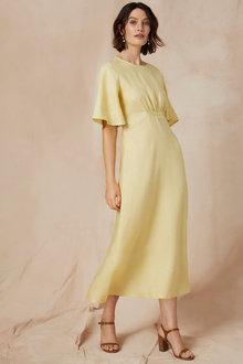 Grace Hill Linen Shirred Waist Dress - 234440