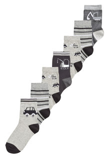 Next Cotton Rich Transport Socks Seven Pack (Younger)