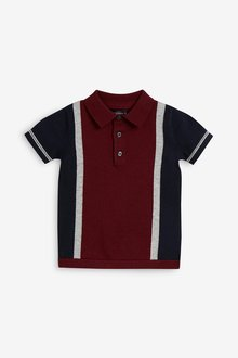 Next Short Sleeve Colourblock Knitted Polo (3mths-7yrs)